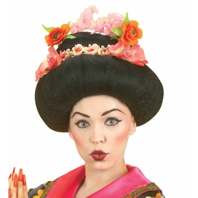 Pruik Geisha Met Bloem (In Plastic Doos)