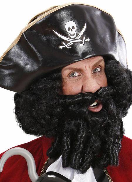 Pruik, karakter met lokken en baard, zwart