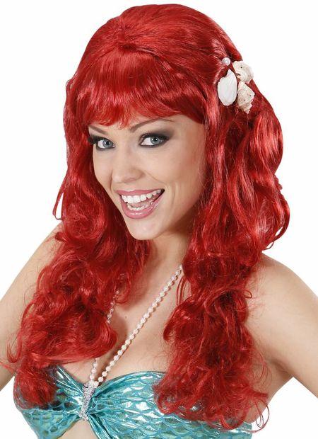 Pruik, zeemeermin rood met schelpen
