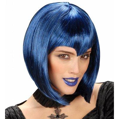 Pruik Gothic Vamp Blauw