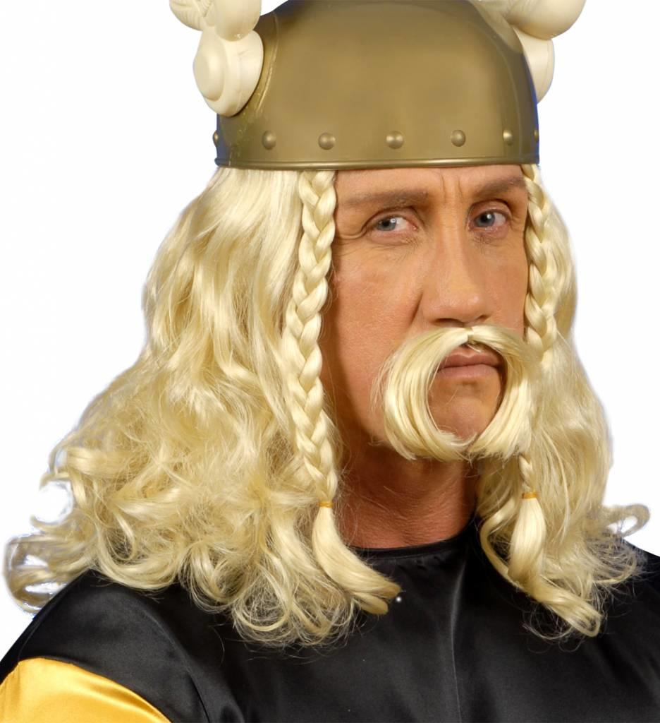 Pruik Viking Met Snor (In Plastic Doos)
