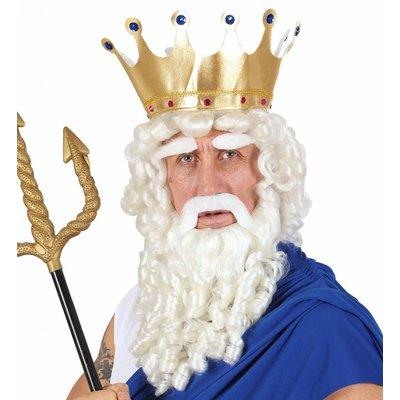 Pruik Zeus Met Baard Snor En Wenkbrouwen