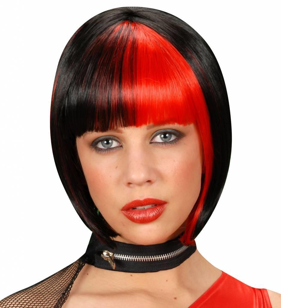 Pruik Zoey Zwart Met Rode Highlights