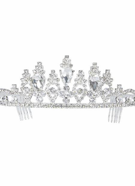Luxe zilveren tiara strass