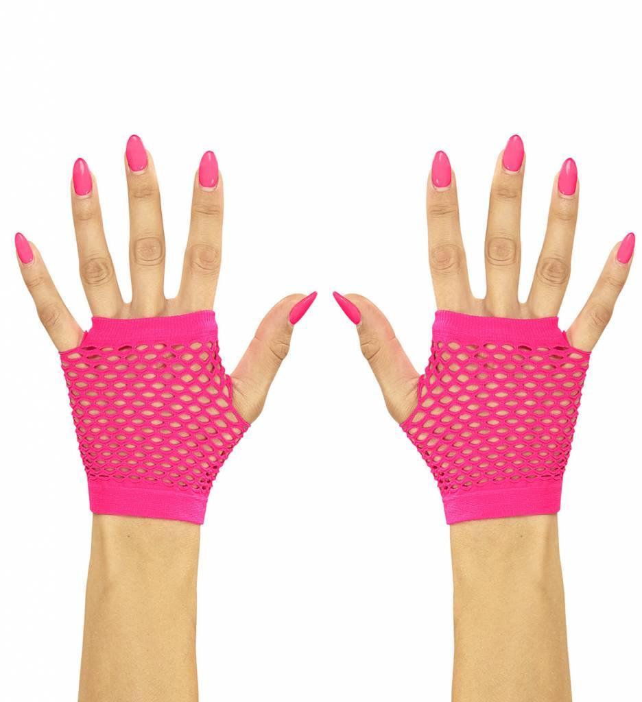 Vingerloze Handschoenen Kort Neon Roze
