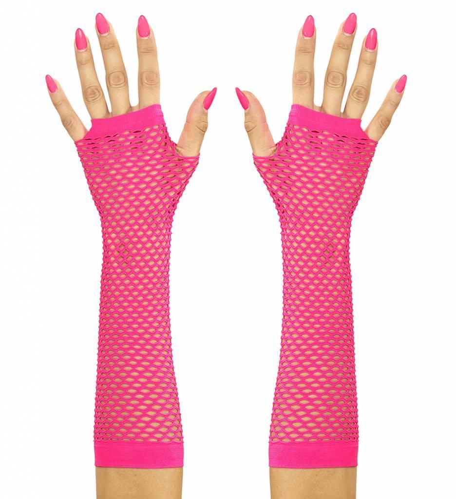Vingerloze Handschoenen Lang Neon Rose