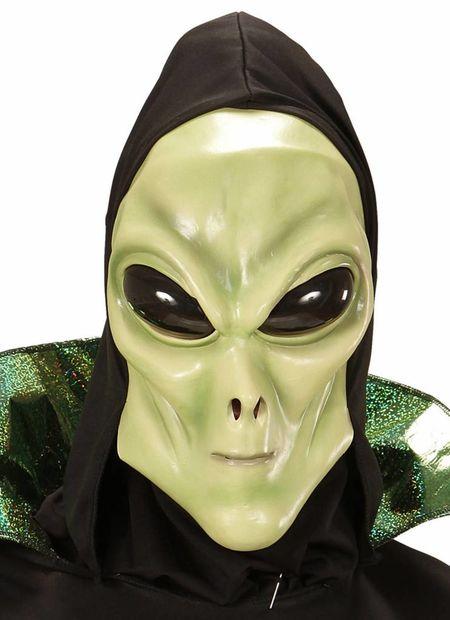 Alien masker met kap en bolle ogen