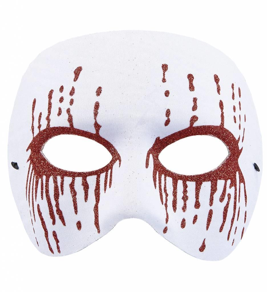 Masker Psychopaat Wit Met Bloedende Ogen