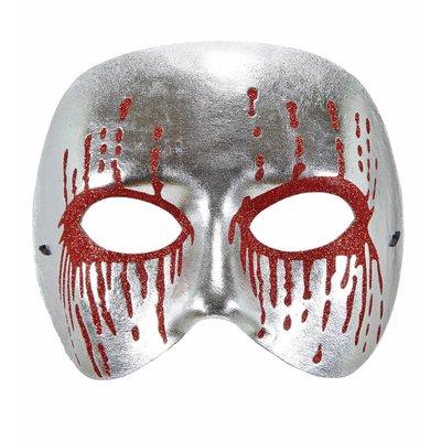 Masker Psychopaat Zilver Met Bloedende Ogen