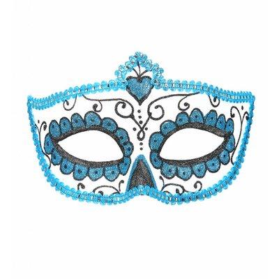 Oogmasker Dia De Los Muertos Zwart & Azuur