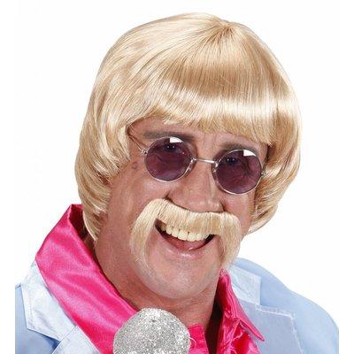 Pruik Popster 60'S Blond Met Snor En Bril