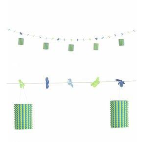 Slinger Met Lampions En Bloemen Blauw/Geel 3Mtr