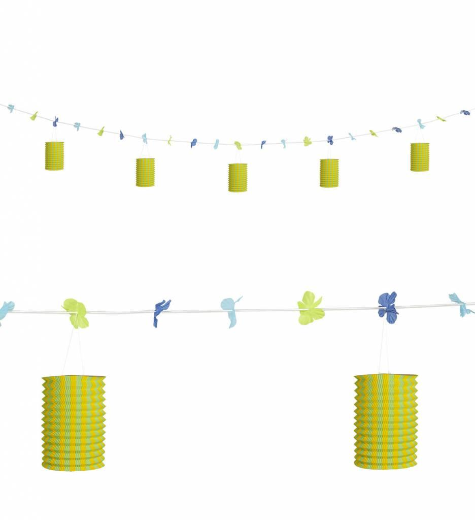 Slinger Met Lampions En Bloemen Geel/Groen 3Mtr