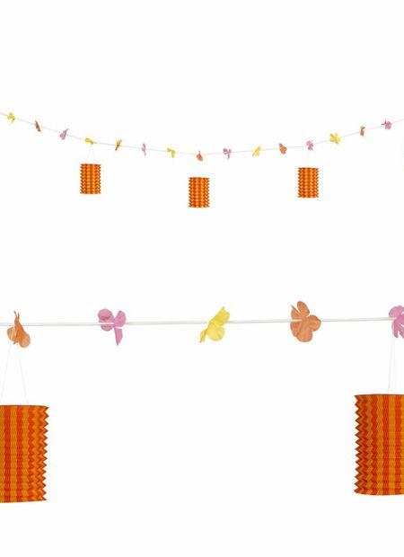 Slinger met lampions en bloemen oranje/geel, 3mtr