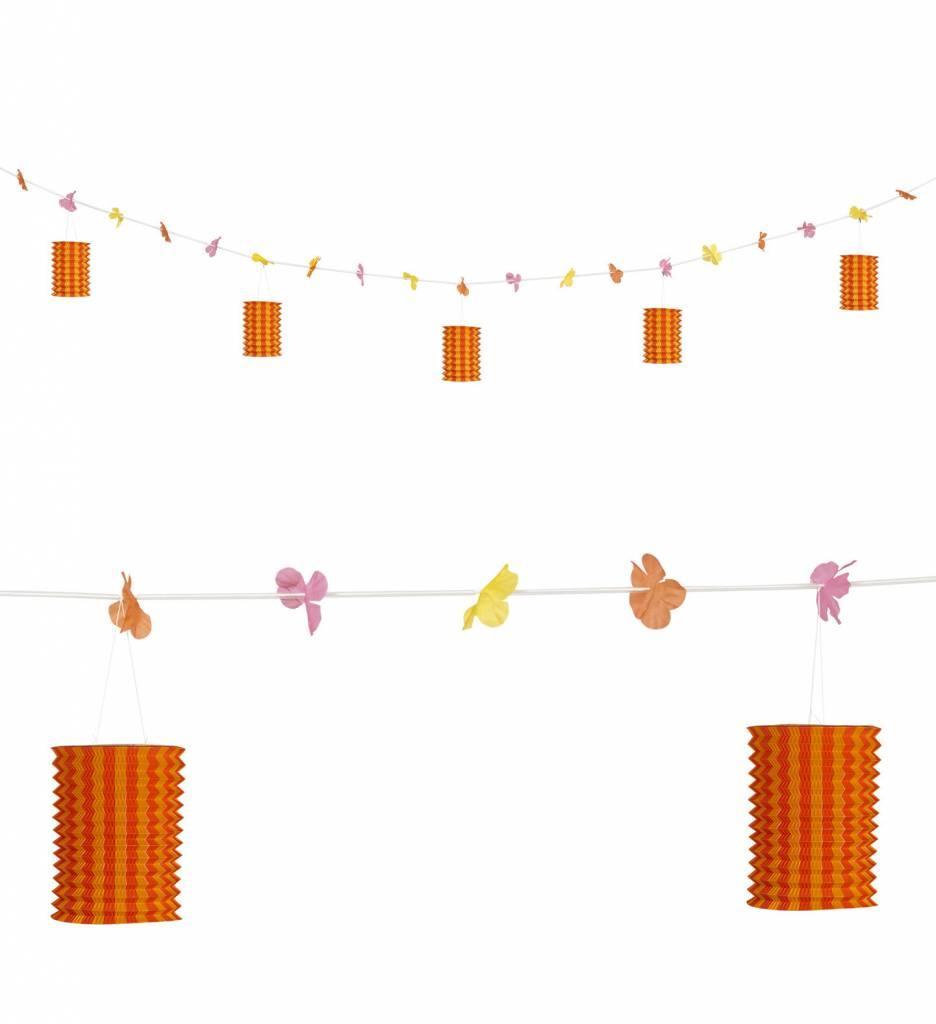 Slinger Met Lampions En Bloemen Oranje/Geel 3Mtr