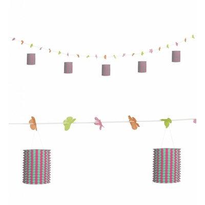 Slinger Met Lampions En Bloemen Roze/Groen 3Mtr