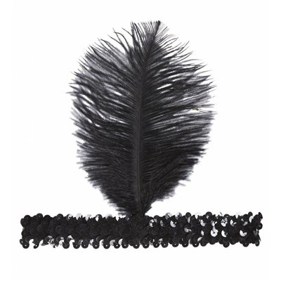 Pailletten Hoofdband Met Zwarte Veer