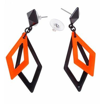 Oorbellen Ruit Neon Zwart/Oranje