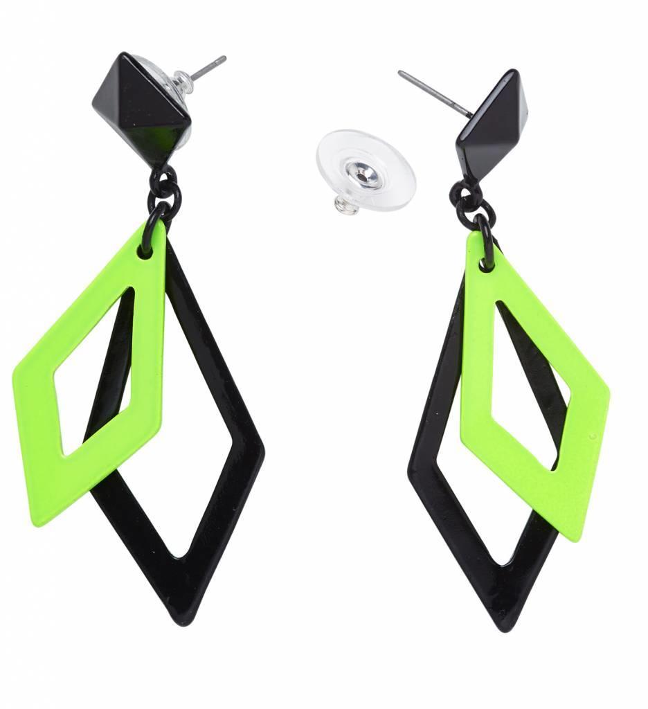 Oorbellen Ruit Neon Zwart/Groen