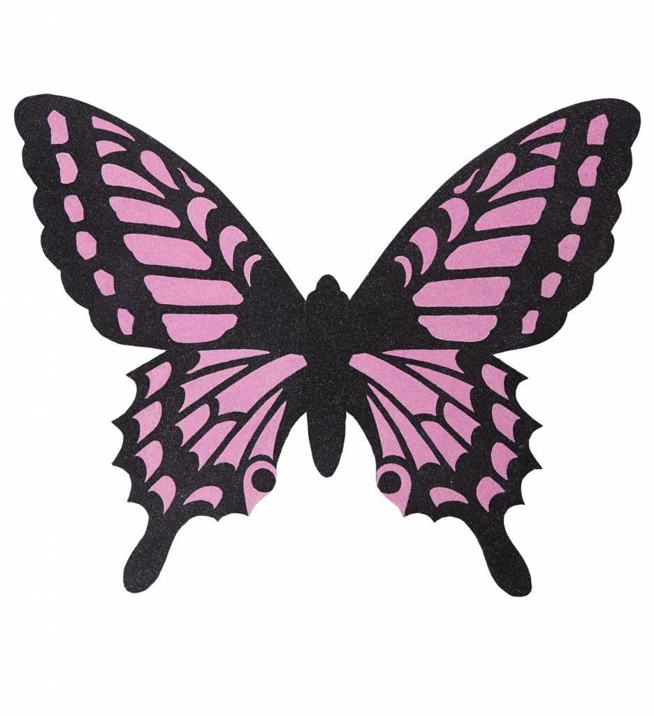 Vlindervleugels Zwart/roze