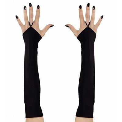 Vingerloze Handschoenen Satijn Zwart