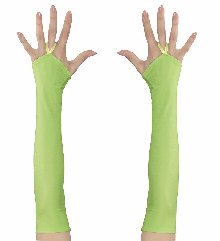 Vingerloze Handschoenen Satijn Neon Groen
