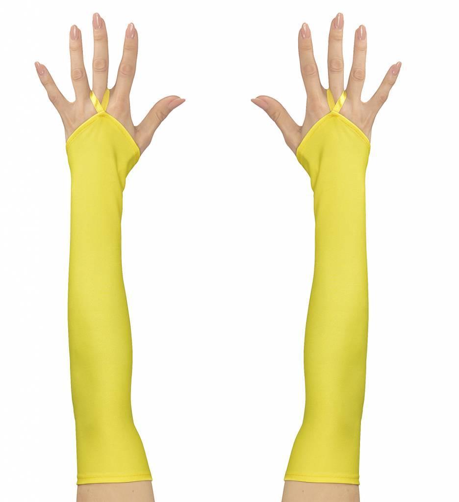 Vingerloze Handschoenen Satijn Neon Geel