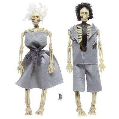 Gekleed Skelet Echtpaar 15Cm