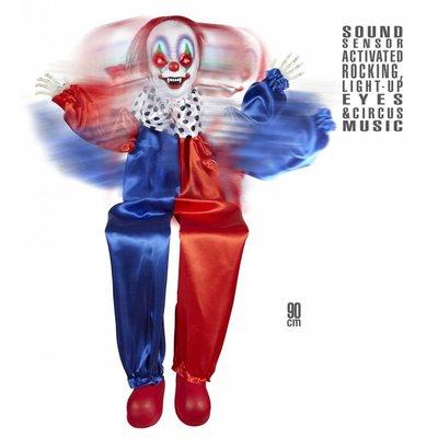 Animatie Killer Clown Met Lichtgevende Ogen En Geluid 90Cm