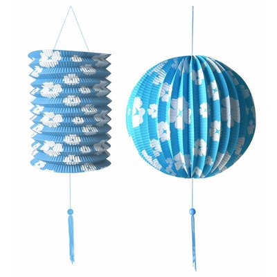 Decoratie Set Blauw/Wit