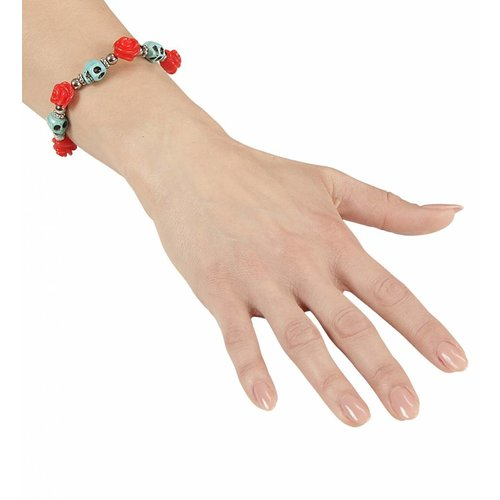 Armband Azuur Schedel Rode Rozen