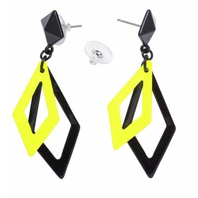 Oorbellen Ruit Neon Zwart/Geel