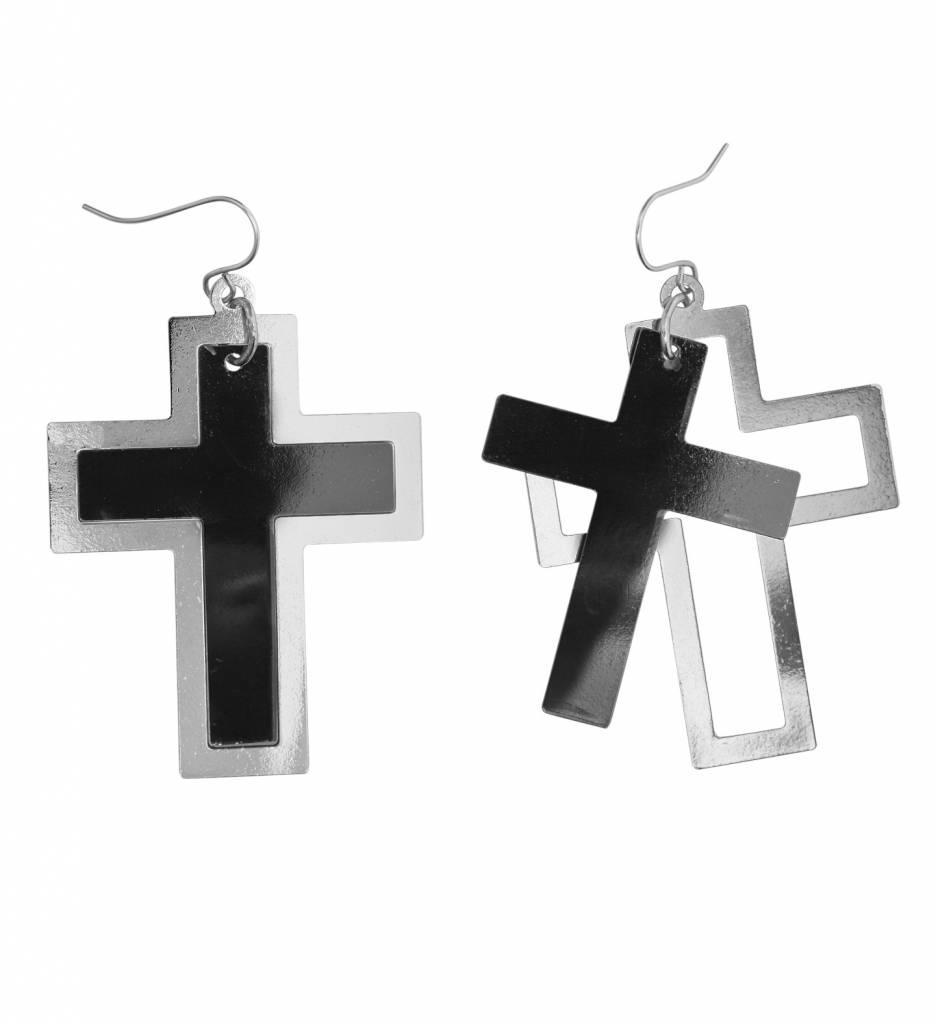 Oorbellen Kruis Zwart/Zilver
