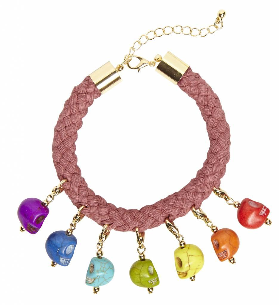 Koord Armband Met 7 Gekleurde Schedels