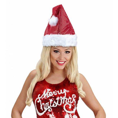 Kerstmanmuts Glitter Rood