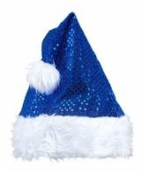 Kerstmanmuts Glitter Blauw