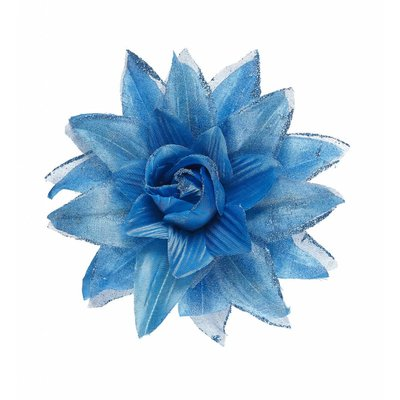 Haarclip Bloem Met Glitter Azuurblauw
