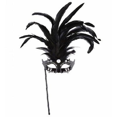 Oogmasker Met Stokje Zwart Luxe Versie
