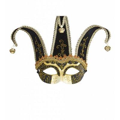Oogmasker Joker Met Decoratie Glitters Zwart