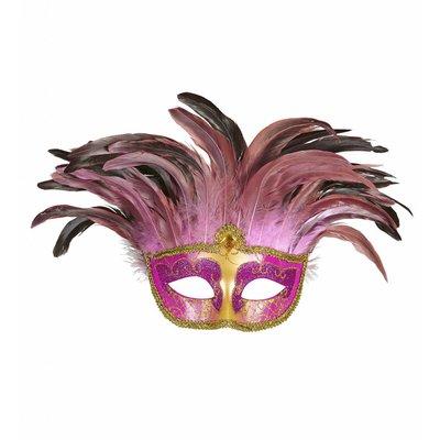 Masker Countess Met Glitters En Veren roze