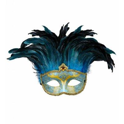 Masker Countess Met Glitters En Veren Blauw