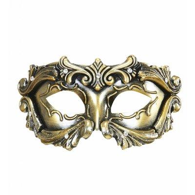 Luxe Barok Colombina Masker In Brons Met Strass