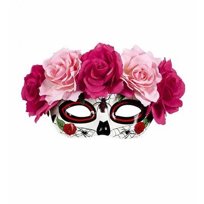 Oogmasker Dia De Los Muertos Met Rode/roze Rozen