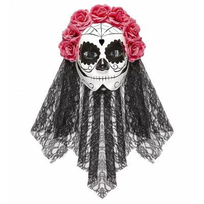 Masker Dia De Los Muertos Met Sluier En roze Rozen
