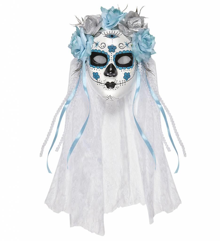 Masker Dia De Los Muertos Met Witte Sluier