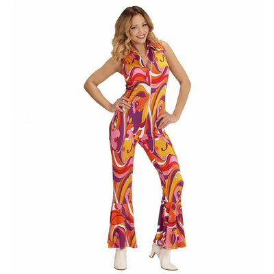 Groovy 70'S Dames Jumpsuit Orchidee