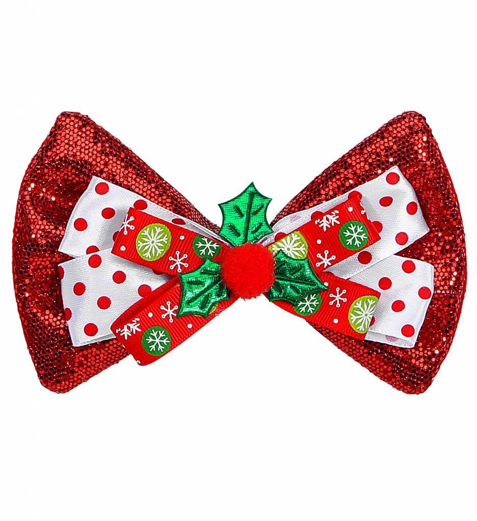 Glitter Strikje Kerst Rood