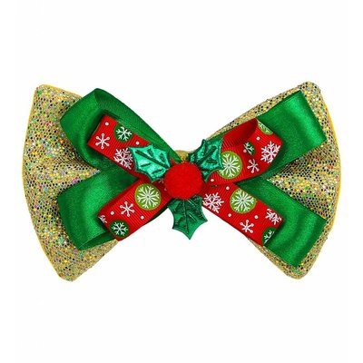 Glitter Strikje Kerst Goud