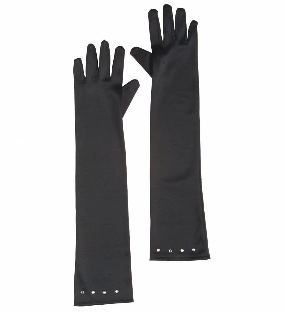 Glamourgirl Handschoenen Satijn Kind Zwart