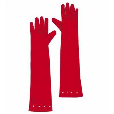 Glamourgirl Handschoenen Satijn Kind Rood